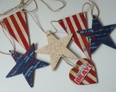 4th July Home of The Brave Banner Stars And Stripes Patriotic Garland Stars Hearts Flag USA