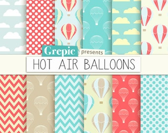 "Hot air balloons digital paper: ""HOT AIR BALLOONS"" with colorful hot air balloons, polkadots, chevrons and clouds for scrapbooking, cards"
