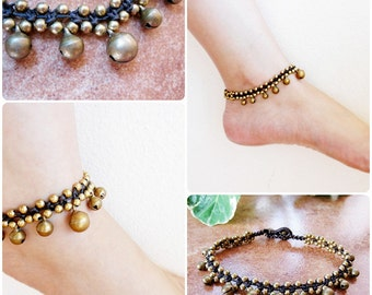 Brass Balls Anklet Adjustable Size, Wax String Anklet Handmade, Thailand Jewelry. JA1005