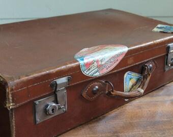 Vintage Brown Leather Tourist Suitcase / Luggage - British Make (Hard Shell Suitcase)