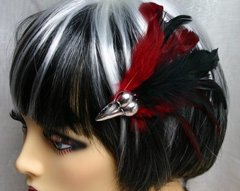 Exclusive 'Blood Raven' hair grip/ fascinator in black and deep red.