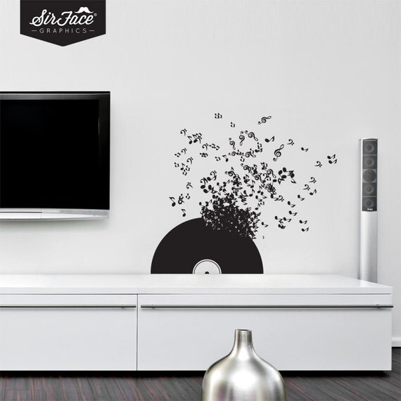 Vinyl record wall decal music wall decal wall by for Vinyl records decorations for wall