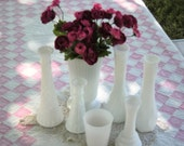 Seven Milk Glass Vases Assorted Sizes - Great Wedding Decor