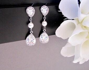 Bride Earrings, Bridal Earrings, Long Earrings, Cubic Zirconia Earrings, Swarovski Pearl, Crystal Earrings, Bridal Jewelry, maid of honor,