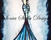 Fashion Illustration Art Watercolor Figure by Designer