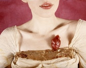 The Heart Has Its Reasons - FREE SHIPPING - Print Red Pink Cream Gold Sequins Love Surreal Photo Art Girl Lips Mini Vintage Pale