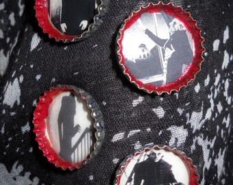 Nosferatu Vampire Set of 4 Upcycled Bottlecap Magnets Halloween Horror