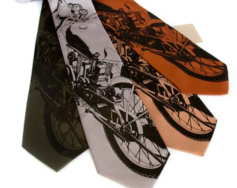 "Motorcycle tie. ""Velocette"" men's necktie. 350cc British mid-century motorbike. Silkscreened black print. Choose your favorite color."