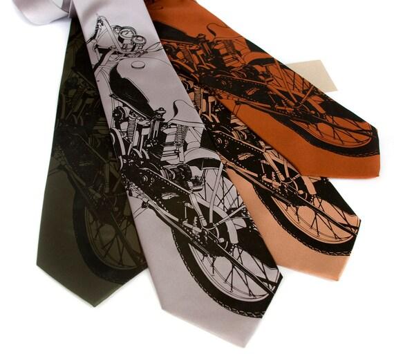 "Motorcycle tie. ""Velocette"" men's necktie. 350cc British mid-century motorbike. Silkscreened black print. Choose your favorite color."