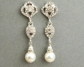 Swarovski Crystal and Pearl Bridal Earrings, Vintage Style Rhinestone Pearl Wedding Dangle Earrings, Old Hollywood Jewelry, LARA