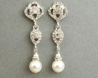 Swarovski Crystal and Pearl Bridal Earrings, Vintage Style Rhinestone Pearl Wedding Dangle Earrings, Old Hollywood Jewelry, LARA