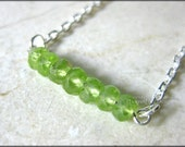 Peridot in a Row Necklace August Birthstone Faceted Rondelle Spring Green Gemstones Bar Pendant Silver Green Delicate Everyday Jewelry RTS