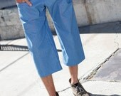 SALE! Mens Denim Short Pants - Capri, Handkerchief Pockets, Drawstring, Adjustable, Menswear, Dancewear, Festival Clothing