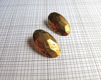 Brass Earrings / Vintage Brass / Brass Studs / 1970s Geometric Posts