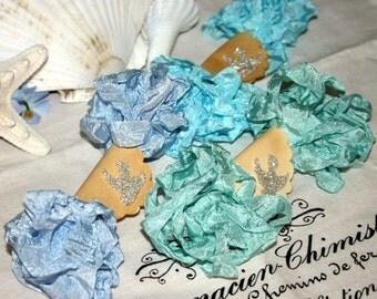 Seam Binding , Shabby Crinkle Ribbon ,  18 yds ,  Aquas and Blue ,  Caribbean Dreams