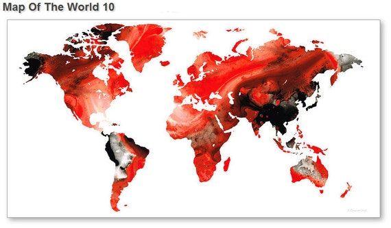 World Map Art Print From Painting White Red Black Travel Earth - Big black and white world map