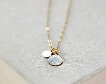 Lamina necklace - antique brass double drops - delicate gold jewelry - edor  gift for her