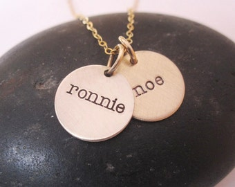 Classic gold initial hand stamped name or initial necklace