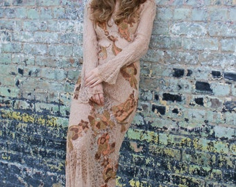 Lady of the Lace Dress Boudoir Queen Upcycled Gown Nouveau Metallic Appliques