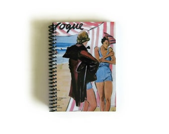 Bathers on the Beach Spiral Bound Travel Journal Gifts, Small 4x6 Inches Blank Notebook, Vintage Swimsuit, Under 15, Sketchbook Cute Pocket