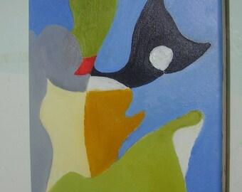 "Abstract painting, original, oil, 12 x 10, blue, green, ochre, cream, black, ""Headlands"""