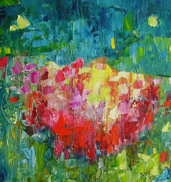 Abstract painting, bright colourful original fine art, oil on canvas, 12 x 10, Summer Storm (II)