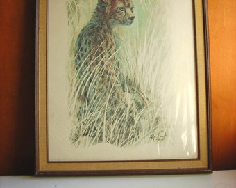 Large Framed Animal Print : R F Harnett Cheetah, Wild Animal Wall Art. Wild Cat in Pastel Teal Blue, Brown. Vintage 1970s Decor.