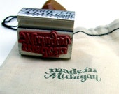 Made in Michigan Rubber Stamp, Shop Branding Calligraphy Stamp, Made in Your State Hand Lettering