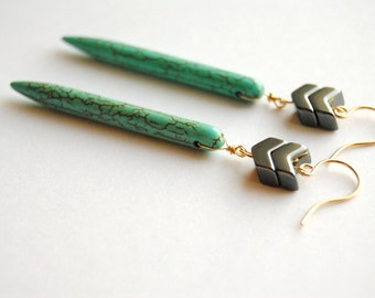 Turquoise Chevron Earrings.  Long Bar Geometric Dangles. Howlite Stone Sticks. Modern Tribal Boho Chic Jewelry. FREE Shipping in US