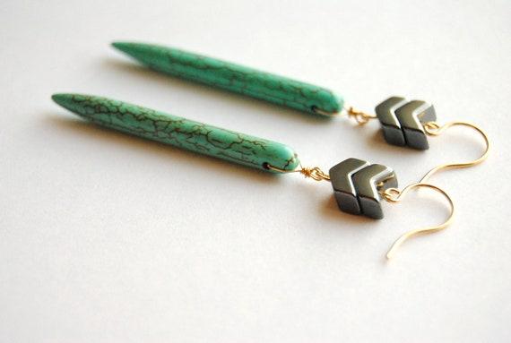 Turquoise Chevron Earrings.  Long Bar Geometric Dangles. Howlite Stone Sticks. Modern Tribal Boho Chic Jewelry. FREE Shipping in US