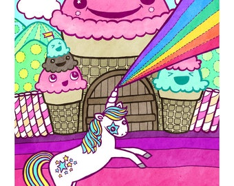 The Mythical Unicorn & Ice Cream Castle  8x10 Illustration Print