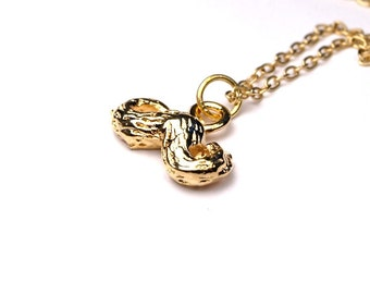 Moustache charm Necklace Small Gold plated pewter on delicate gold plated chain
