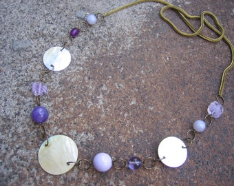 Eco-Friendly Statement Necklace - Shelter from the Storm - Recycled Vintage Mesh Snake Chain, Glass and Shell Beads in Purples and Cream