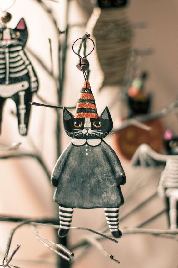 Witch Cat Halloween Clay Folk Art Ornament