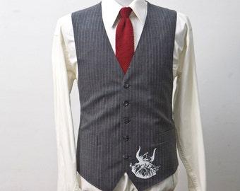 Men's Suit Vest / Vintage Pinstripe Waistcoat / Screen Printed Viking / Size 38 Small Medium