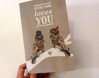 Romantic Owl Love Card Printable PDF for Anniversary, or I Love You Brown, White, Red