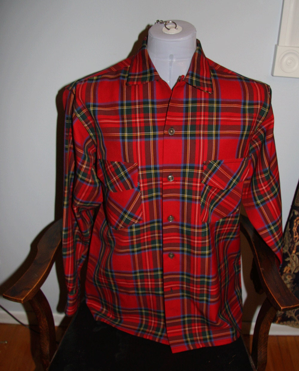 1950s red plaid mens wool shirt hudsons bay company for Mens red wool shirt