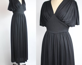 Vintage 1970s Nylon Jersey Dress | Plunging V-neck Maxi Dress | Draped Flutter Sleeve Long Dress | xxs - xs