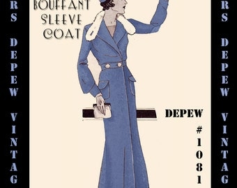 Vintage Sewing Pattern 1930's Coat with Fur Trim in Any Size- PLUS Size Included- Depew 1081 - A Draft at Home Pattern -INSTANT DOWNLOAD-