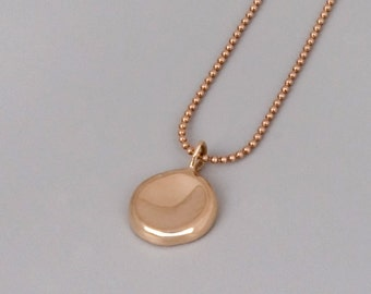 Solid Rose Gold Pebble Necklace, 14k Gold Necklace, Rose Gold Layered Necklace, Dainty Necklace, delicate necklace, 14k Rose Gold Jewelry