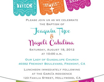 BAPTISM Invitation Printable for one or two children Papel Picado Fiesta - I design, You Print