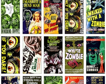 "ZoMBiES - Digital Printable Collage Sheet - Cult Classic Horror Films, B-Movie Posters, Halloween, 1"" x 2"" Domino Tiles, Instant Download"