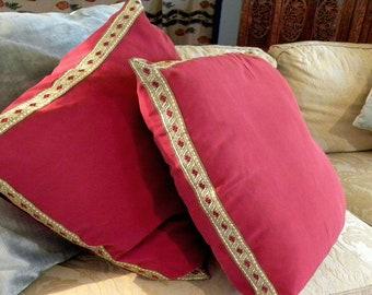 Designer Decorator Garnet RED Heavy Brushed Upholstery Grade Silk PILLOW COVER Renaissance Victorian Antique French Metallic Vestment Trim