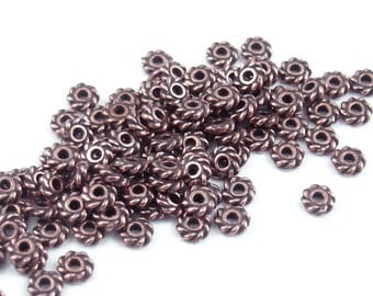 50 Copper Beads - 4mm Flat Bali Beads - Antique Copper Spacer Beads Twist Bali Beads Dark Copper Metal Beads TierraCast Pewter  (PS238)