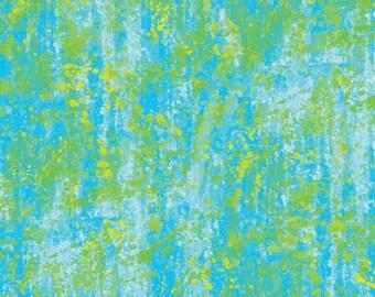 Paint Splatter Calypso Green and Aqua Fabric 1 yard