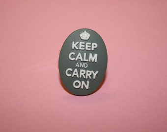 SALE Medium Grey Keep Calm and Carry On Cameo Ring