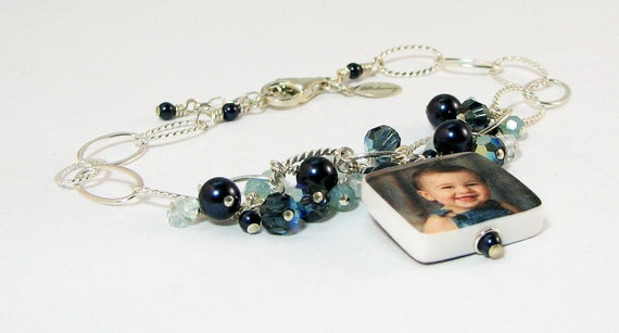 Custom Photo Charm Bracelet with dangles of crystals, pearls & Blue Topaz - P3B6a