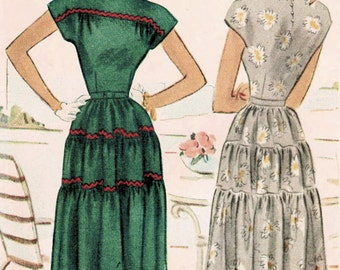 1940s McCall 7130 UNCUT Vintage Sewing Pattern Junior Party Dress, Afternoon Dress Size 11 Bust 31