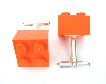 Orange Cufflinks Handmade with LEGO(r) Bricks, Cufflinks for weddings, office, grooms - Silver Plated
