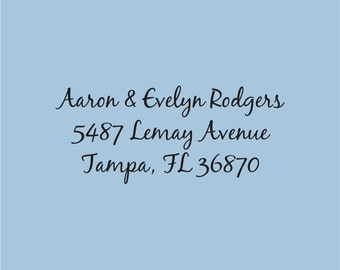 Custom Return Address Stamp Self Inking Aaron and Evelyn Rodgers Design 200-031
